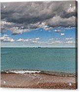 Beach And Ships. Acrylic Print
