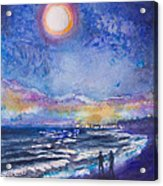 Beach At Night Acrylic Print by Patricia Allingham Carlson