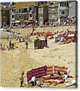 Beach At St Ives Cornwall Uk 1990 Acrylic Print by David Davies