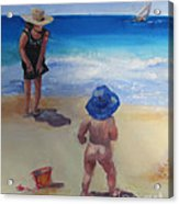 Beach Baby With Blue Hat Acrylic Print