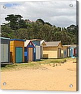 Beach Boxes Mount Martha Acrylic Print by Rachael Curry