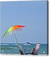 Beach Chairs And Umbrella Acrylic Print