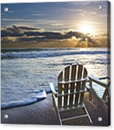 Beach Chairs Acrylic Print by Debra and Dave Vanderlaan