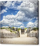 Beach Clouds And Fence Acrylic Print by Vicki Jauron