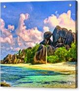 Beach Cove On La Digue Acrylic Print