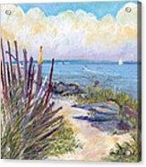 Beach Fence With Ferry Acrylic Print