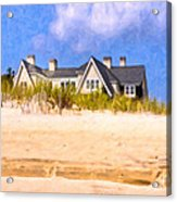 Beach House In The Hamptons Acrylic Print by Mark E Tisdale