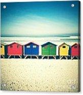 Beach Huts Muizenberg Retro Acrylic Print