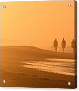 Beach Landscape Silhouetted Sunrise Walkers Nc Acrylic Print