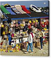 Beach Scene Weymouth Uk 80s Acrylic Print by David Davies