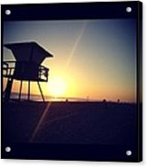 Beach Sunset Acrylic Print by Troy Lewis