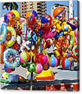 Beach Toys At Manta Beach Ecuador Acrylic Print