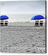 Beach Umbrellas On A Cloudy Day Acrylic Print