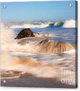 Beach Waves Smoothly Flowing Over The Rocks Fine Art Photography Print Acrylic Print