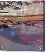 Beach With Flag Acrylic Print