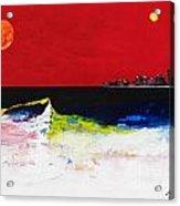 Beach With Sun And Moon Acrylic Print