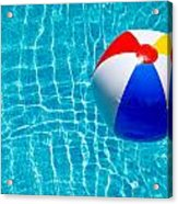 Beachball On Pool Acrylic Print