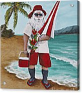 Beachen Santa Acrylic Print by Darice Machel McGuire