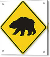 Bear Crossing Sign Acrylic Print