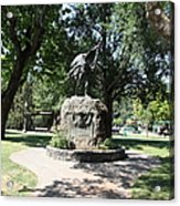 Bear Flag Statue At Sonoma Plaza In Downtown Sonoma California 5d24432 Acrylic Print by Wingsdomain Art and Photography