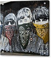The Beatles wearing face masks street mural Acrylic Print