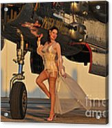 Beautiful 1940s Pin-up Girl Standing Acrylic Print