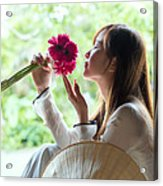 Beautiful Asian Woman With Flowers - Vietnam Acrylic Print
