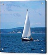 Beautiful Boat Sailing At Puget Sound Acrylic Print