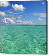 Beautiful Bora Bora Green Water And Blue Sky Acrylic Print