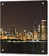 Beautiful Chicago Skyline With Fireworks Acrylic Print by Adam Romanowicz