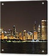 Beautiful Chicago Skyline With Fireworks Acrylic Print