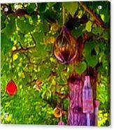Beautiful Colored Glass Ball Hanging On Tree 2 Acrylic Print