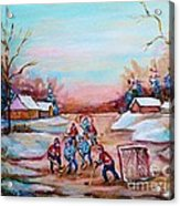 Beautiful Day For Pond Hockey Winter Landscape Painting  Acrylic Print