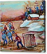 Beautiful Day-pond Hockey-hockey Game-canadian Landscape-winter Scenes-carole Spandau Acrylic Print