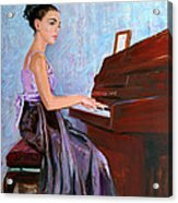 Beautiful Girl Playing Piano Acrylic Print