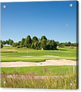 Beautiful Green Golf Course And Blue Sky Acrylic Print