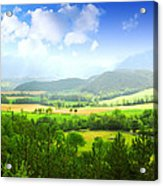 Beautiful Greens Landscape Acrylic Print by Boon Mee