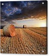Beautiful Hay Bales Sunset Landscape Digital Painting Acrylic Print