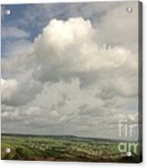 White Clouds Over Yorkshire Dales Acrylic Print
