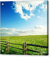 Beautiful Sky On Greens Landscape Acrylic Print by Boon Mee