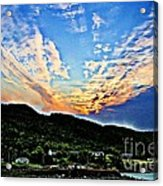Beautiful Sky Over The Harbour Digital Painting Acrylic Print