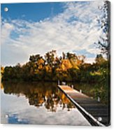 Beautiful Sunset Over Autumn Fall Lake With Crystal Clear Reflec Acrylic Print