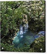 Beautiful Waterfall In The Mountains In Navarra Acrylic Print