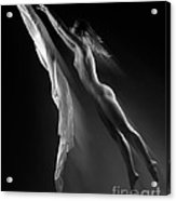 Beautiful Woman Flying Towards The Light Acrylic Print