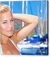 Beautiful Woman In Sailboat Harbor Acrylic Print