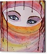 Beautiful Woman With Niqab Watercolor Painting Acrylic Print