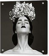 Beautiful Woman With Wreath Of Flowers Acrylic Print
