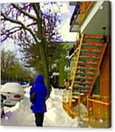 Beautiful Yellow Staircase Verdun Snow Scene Montreal Art Colors Of Quebec Carole Spandau Acrylic Print