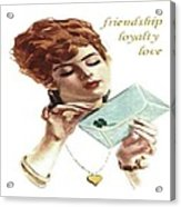 Beautiful Young Woman Holding Love Letter Vintage Vector Acrylic Print