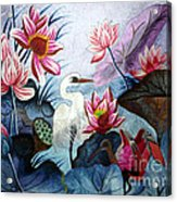 Beauty Of The Lake Hand Embroidery Acrylic Print